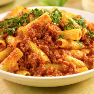 Baked Rigatoni with Meat Sauce & Mozzarella